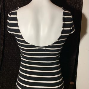 B&W stripe back scoop neck dress cap sleeve